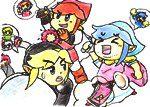 3DS「ゼルダの伝説 トライフォース3銃士」を描いてみた(色鉛筆で)